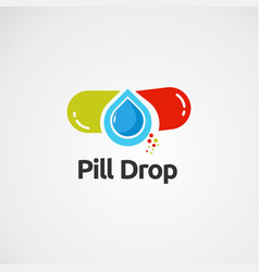 Pill drop logo with simple concept icon element vector