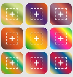 Plus in square sign icon vector