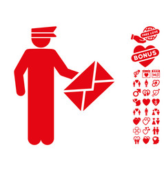 postman icon with lovely bonus vector image