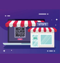 Qr code inside laptop and store design vector