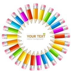 Rainbow pencils frame vector