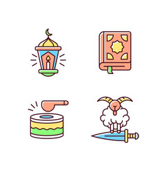 Religious muslim tributes rgb color icons set vector