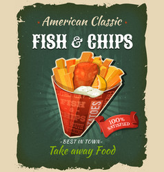 Retro fast food fish and chips poster vector