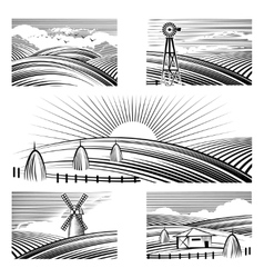 Retro rural landscapes vector
