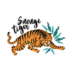 savage tiger tiger vector image