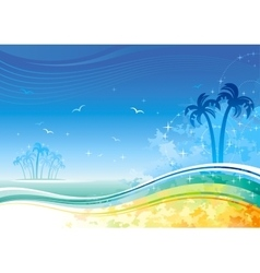 Sea background with island and palms vector