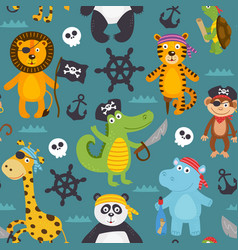 Seamless pattern with pirates animals vector