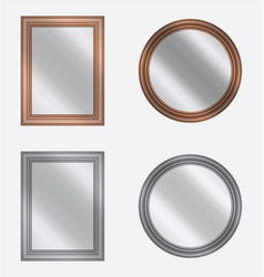 set of frames with mirrors on white background vector image