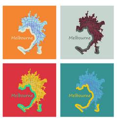 Set of melbourne australia map in retro style vector