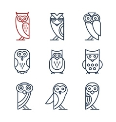 Set of Owl Design Elements in Linear Style vector
