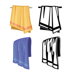 set of towels - cartoon style and outline towels vector image