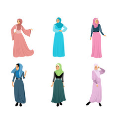 Set six muslim women vector