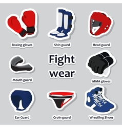 Set sport equipment for martial arts vector