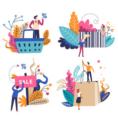 shop worker scanning barcode and putting goods in vector image