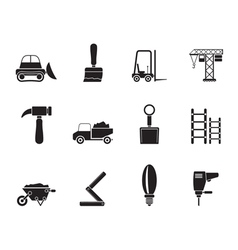 Silhouette Building and Construction equipment vector