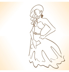 Silhouette of beautiful woman in dress vector
