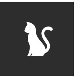 silhouette pet cat with a tail up abstract vector image