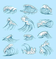 Sketch ocean waves hand drawn marine tides vector