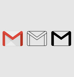 social media icon set for gmail in different style vector image