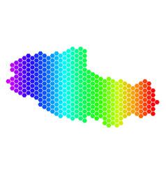 Spectrum hexagon tibet chinese territory map vector