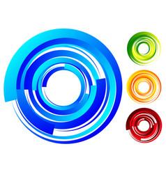 Spiral vortex elements swirl twirl shape on white vector