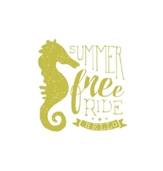 Summer Holydays Vintage Emblem With Seahorse vector