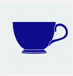 tea cup blue silhouette on vector image