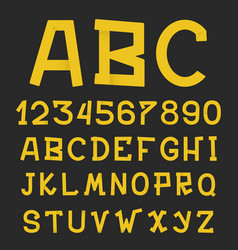 textured grunge alphabet hand drawn letters vector image
