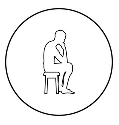 Thinking man sitting on a stool silhouette icon vector