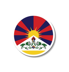 Tibetan rounded flag with dropped shadow vector