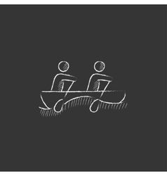 Tourists sitting in boat Drawn in chalk icon vector image