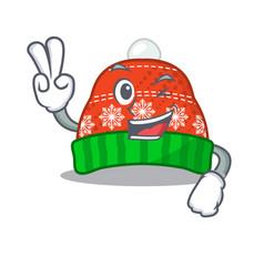 Two finger winter hat in mascot shape vector