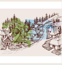 village hand drawing pine forest in background vector image