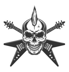 vintage punk rock star skull vector image