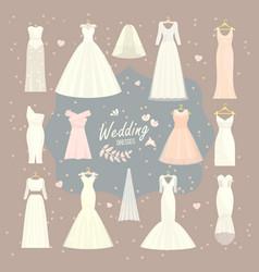 Wedding dresses set bride and bridesmaid vector