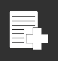 White icon on black background medical form vector