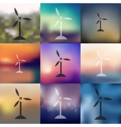 Wind turbines icon on blurred background vector