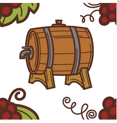 winery wine barrel with tap grapes seamless vector image