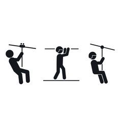 Zip line icons set simple style vector