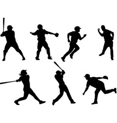 baseball silhouettes collection 6 vector image
