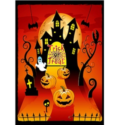 Halloween cover design with pumpkin vector image