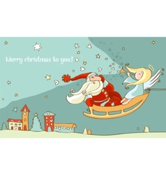 santa claus and christmas angel in sleigh new year vector image