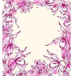 Vintage hand drawn floral frame with orchids vector image vector image
