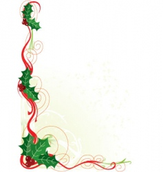 Christmas holly border vector image vector image