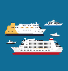 Cruise passenger liners set isolated on blue vector