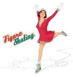 Figure skater girl in pink dress vector image vector image