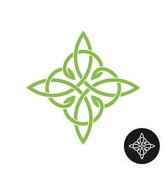 Celtic knots elegant weave cross logo Mono line vector image