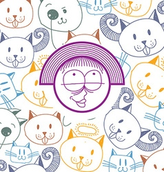colorful of happy smiling cartoon girl isola vector image