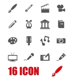 grey art icon set vector image vector image