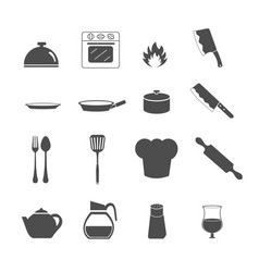 kitchen utensil icons set vector image